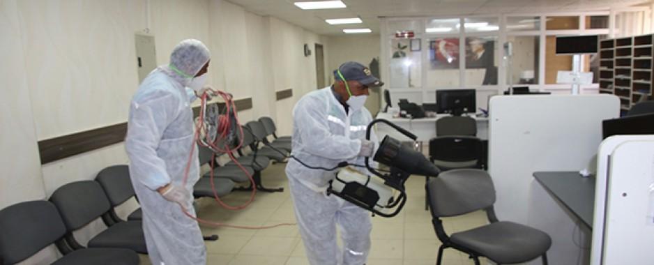 Harran'da ortak kullanım alanları dezenfekte ediliyor